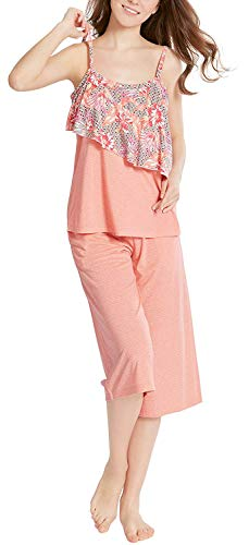 Summer Pajamas for Women, Camisole Capri Pajama for Woman - Pjs Women Tank Tops Lounge Capris Sets Bermuda L