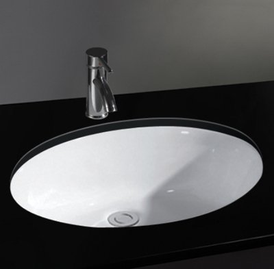 Clickbasin Pisa 46.5cm By 38cm Oval Undercounter Inset Oval Ceramic Washbasin