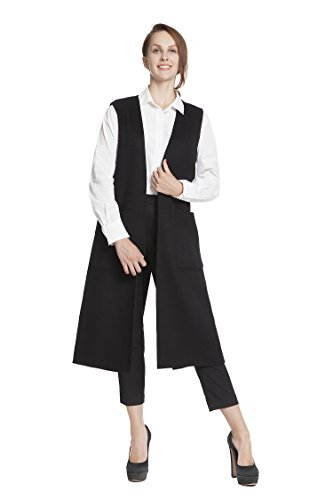RLM Ladies Handmade Waistcoat Woolen Long Vest Coat Sleeveless Cardigan (8, Black)