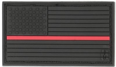 Maxpedition Gear Small USA Flag Patch, Firefighter Thin Red Line, 2 x 1-Inch
