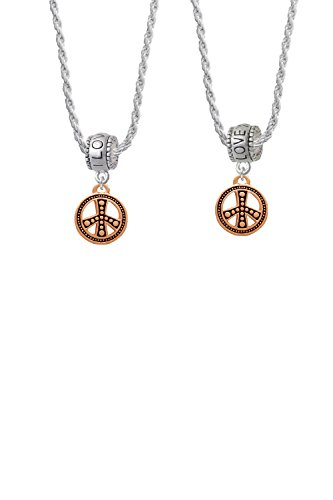 [Beaded Rose Gold Tone Peace Sign I Love You More Bead Necklace Set of 2] (Necklace Love Beads)