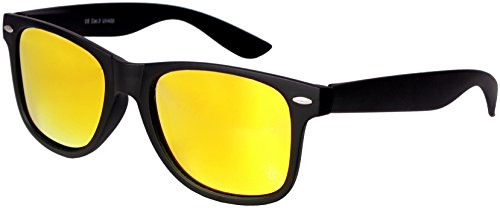 haute qualité polarisé Nerd Gomme Lunettes de soleil dans Set (24 Modèles) Rétro Vintage Unisexe Lunettes avec Charnière à ressort noir-jaune Miroir