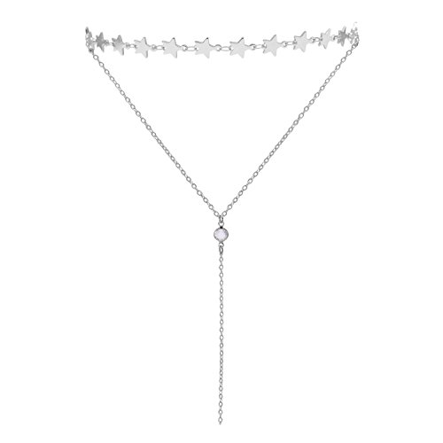 Lariat Choker Necklace for Women and Girls Silver Choker Necklace Stunning Layered Choker Necklace Star Necklace