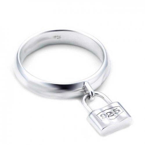 Love Lock Valentine Dangle Charm Padlock 925 Sterling Silver Polished Finish Ring