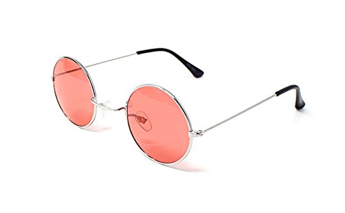 Silver with Red Lenses Ultra Adults Retro Round Sunglasses Small Style John Lennon Sunglasses Vintage Look quality UV400 Elton John Lennon Glasses Men - Polorised Glasses