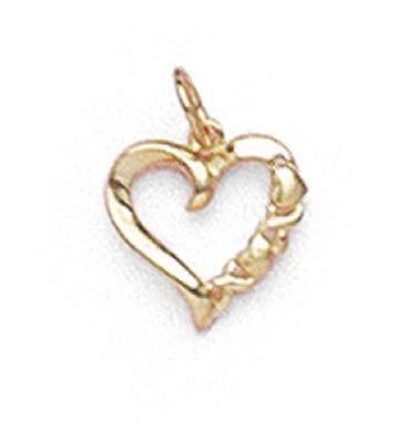 14k Yellow Gold Hugs Kisses Heart Pendant