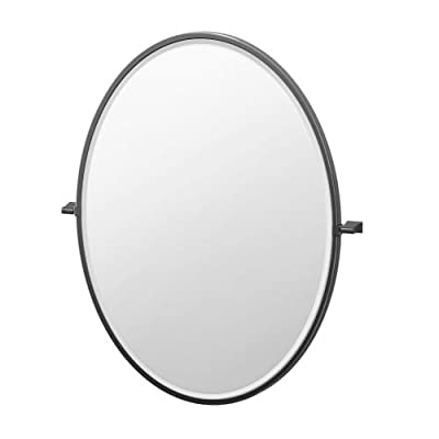 Gatco 4719XFLG Bleu Framed Oval Mirror, 33-inch, Matte Black - Mirrors are distinguished by a refined beveled edge Best choice for those who want the best quality and design at a reasonable price This product is manufactured in Taiwan - bathroom-mirrors, bathroom-accessories, bathroom - 31sBMyZQr7L. SS400  -