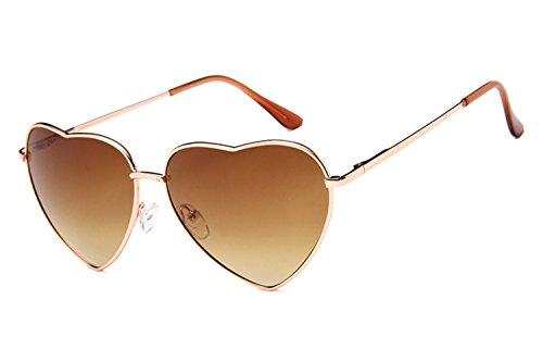 (Chezi Women's Metal Colorful Tinted Lens Heart Sunglasses (gold, brown))