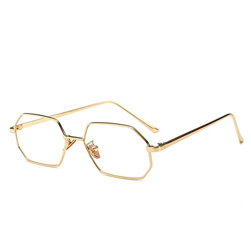 Vintage Small Octagon Sunglasses Women Shade Designer Square Metal Frame Red ()