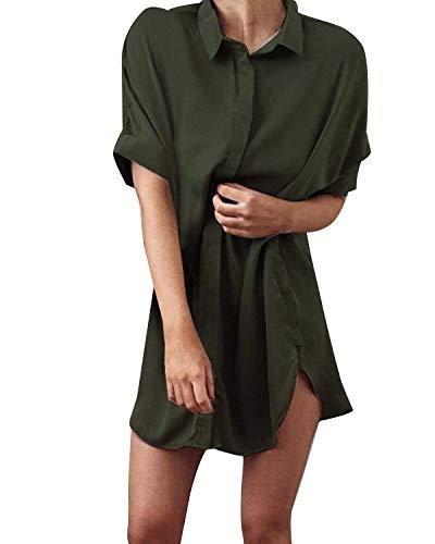 Huixin Lunga Blusa Donna Elegante Estivi Puro Colore Manica Corta Bavero Tunica Camicie Bluse Lunga Relaxed Basic Tendenza Costume Camicette Vestono Camicie Camicetta Armygreen