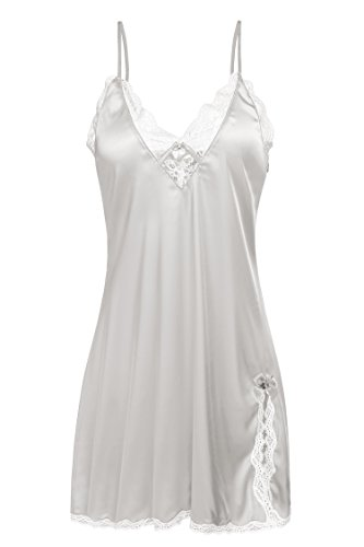 Ekouaer Women's Satin Lace Trim Chemise Nightie,White,Small