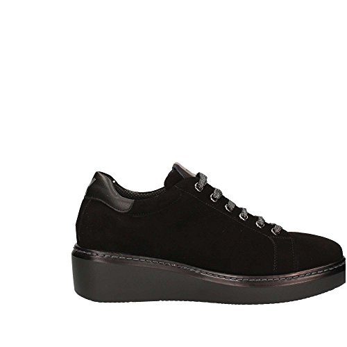 MELLUSO R25402 Nero Scarpa Donna Zeppa Sneaker Pelle Made In Italy Noir EmnQICKO