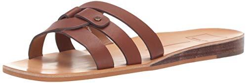 Dolce Vita Women's CAIT Slide Sandal brown leather 8 M US Dolce Vita Brown Leather