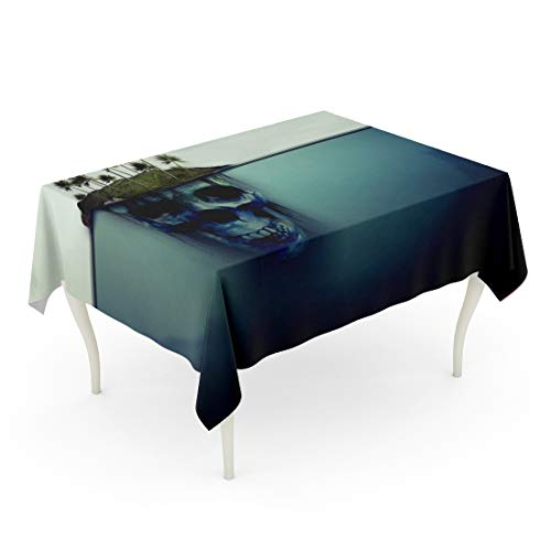 Tarolo Rectangle Tablecloth 60 x 90 Inch Blue Danger Dangerous Island Skull Underneath Iceberg Fantasy Modern Misleading Halloween Table Cloth]()