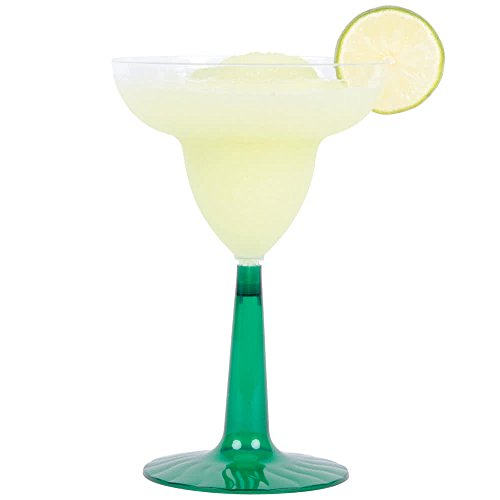 - 24 Count CLEAR / Green 12 oz. Disposable Plastic Margarita Glass Flairware w/ Signature Party Picks