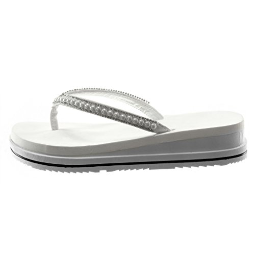 Angkorly Women's Fashion Shoes Flip-Flops Sandals - Slip-on - Platform - Pearl - Rhinestone - Bicolour Wedge Platform 3.5 cm White 7Orrk9pp8