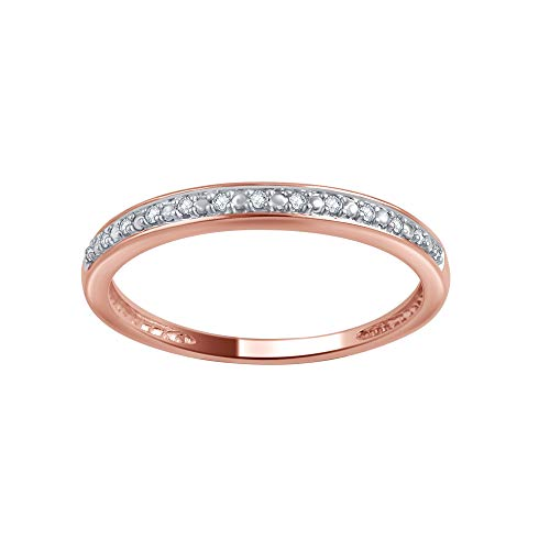 1//10 cttw, Diamond Wedding Band in 14K Pink Gold G-H,I2-I3 Size-3.5
