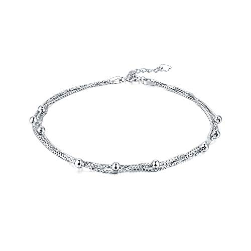 Minimalist Satellite Chain Anklet 925 Sterling Silver Triple Layered Chain Ball Beads Beach Foot Ankle Bracelet for Women Girls (Triple Layered Chain)