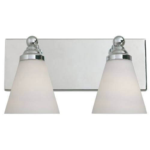 Designers Fountain 6492-CH Hudson Collection 2-Light Wall Sconce, Chrome Finish with White Opal Glass
