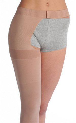 Leg Right Waist Attachment (Juzo Varin Thigh High w/Waist Attachment 30-40mmHg Open Toe Right Leg, III, Beige)