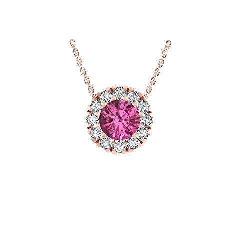 (14k gold halo pendant Pink Tourmaline with 12 sparkling precious round diamonds (H-I Color I1 Clarity) 18