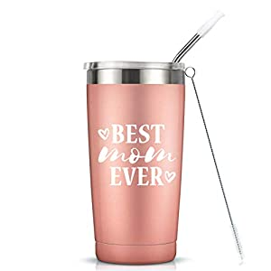 Best Mom Ever I Vacuum-Insulated Stainless Steel Tumbler with Lid, Mothers Day Birthday Gifts for Mom, 20-Ounce Rose Gold