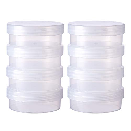 BENECREAT 8 Pack Round Frosted Plastic Bead Storage Containers Box Case with Screw Top Lids for Items,Pills,Herbs,Tiny Bead,Jewerlry Findings, and Other Small Items - 2.63x1 Inches
