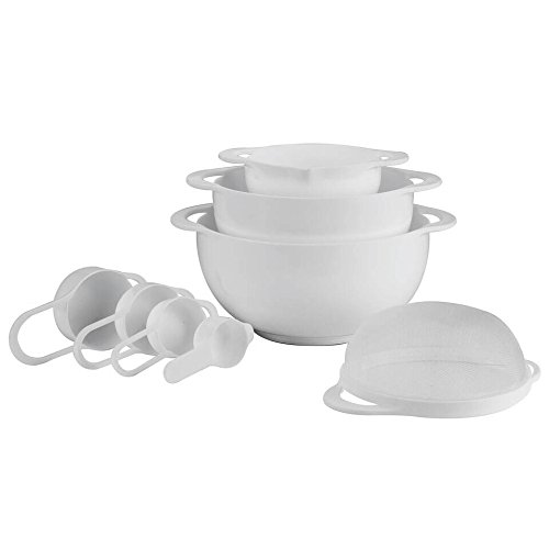 Set of 8 Compact Nesting Mixing Bowl Set Measuring Tools Sieve Colander Food Prep Plastic Dishwasher Safe Non-Slip, 8-Piece, By Intriom (White)