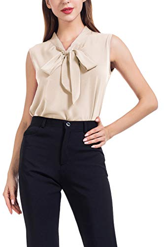 AUQCO Women's Chiffon Blouse Business Button Down Shirt for Work Casual with Long Sleeve/Sleeveless - Shirt Beige Casual