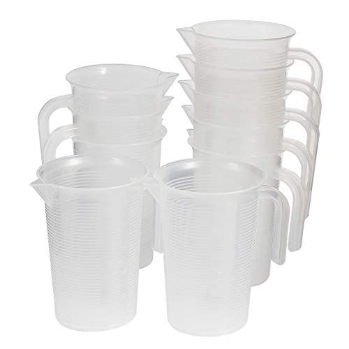 Saim 500ml Plastic Graduated Pitcher Measuring Cups BPA Free Liquid Measuring Containers Kitchen Utensils Gadgets Measuring Tools with V-Shaped Spout & Measurements for Baker Pastry Cook, 10pcs
