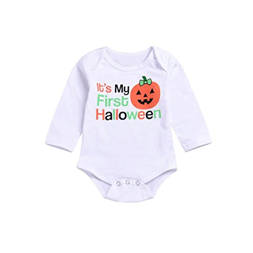 Toddler Baby Girls Boys Clothes Sets 0-24 Months,Fashion Halloween Letter Cartoon Pumpkin Romper Siamese Climbing Outfits (18-24Months, White) -