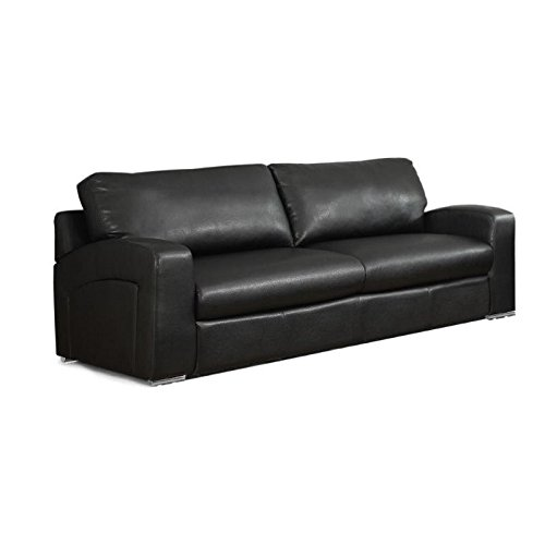 Bowery Hill Leather Sofa in Black