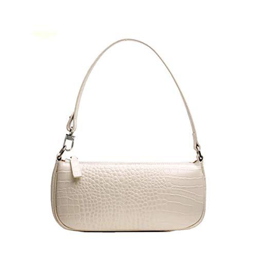 ACTLURE Women Genuine Leather Vintage Crocodile Pattern Effect Leather Top Handle Shoulder Handbag Purse Bag (WHITE)