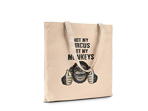 (Funny Humor Fashion Novelty Canvas Tote Book Shopping Travel Bag Carry All (Not my circus not my monkeys) )
