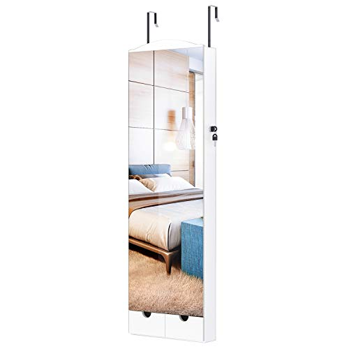 LANGRIA 10 LEDs Wall Door Mounted Jewelry Armoire with Full Length Mirror, Lockable Jewelry Cabinet Organizer with 2 Drawers, Mirror Size 14.4 x 41.5 in, White -