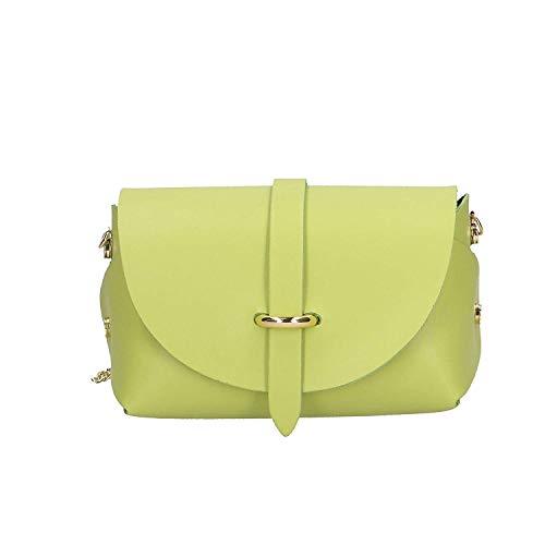- Borsa donna a spalla con tracolla in vera pelle Made in italy - 18x11x9 cm (Colore : Brilliant Ancient Pink, Dimensione : -) Verde Chiaro