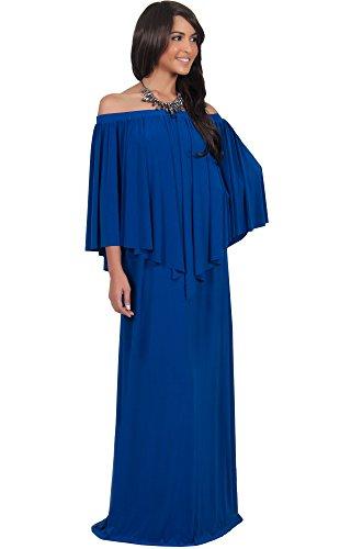 KOH KOH Womens Long Strapless Shoulderless Flattering Cocktail Gown Designer Evening Off Shoulder Sexy Special Occasion Vestido Maxi Dress, Color Cobalt / Royal Blue, Size 2X Large 2XL 18-20 (2)