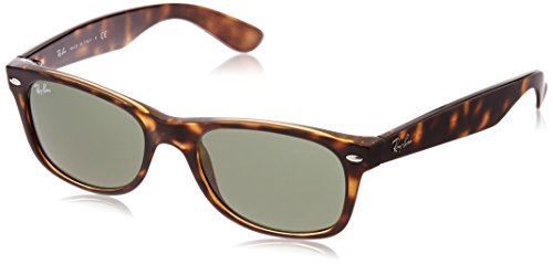 Ray-Ban RB2132 New Wayfarer Sunglasses, Tortoise/Green, 52 mm