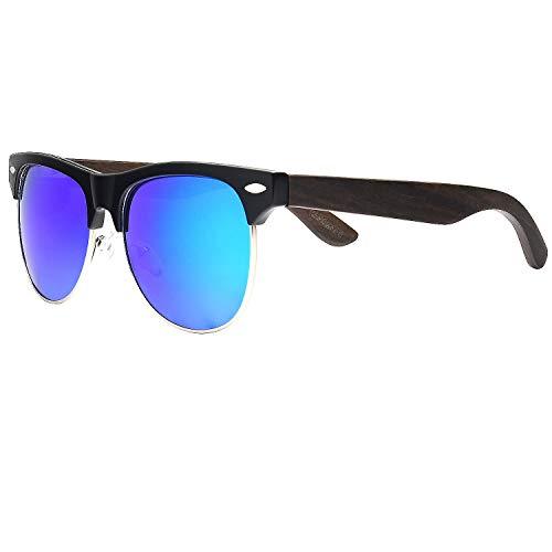Ablibi Bamboo Wood Semi Rimless Sunglasses with Polarized Lenses in Original Boxes (Walnut Wood, Blue) (Original Clubmaster)