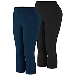 Cadmus High Waist Yoga Capri,Tummy Control,Workout Pants with Pockets for Womens,1002,Black & Navy Blue,Medium