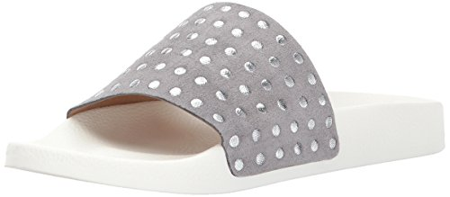 Lucky Brand Womens Piyaa Leather Open Toe Beach Slide Sandals Steel Grey Lay2IY