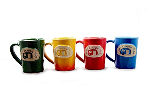 (Roo Pottery - Happy Camper Ceramic Pottery Mugs - Handmade Set of 4 - Cute Medallion Coffee Mug 11-12 oz - Unique American Made Gift - Dishwasher Safe - Durable Glazed Stoneware Clay)