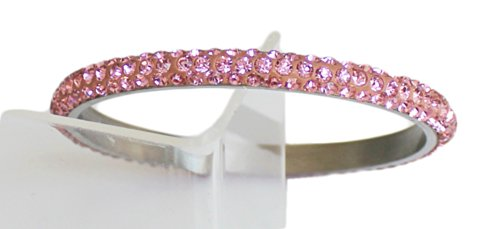 Sophistikitty Bangle Bracelet with 3 rows of Sparkly Bling Bling Crystal Rhinestones: Baby Pink by Sophistikitty