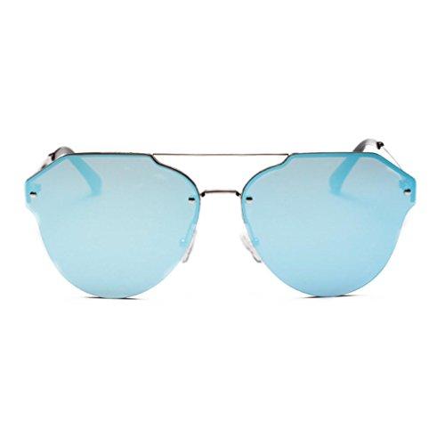 Soleil Réfléchissant Mode Coloré Vintage Femmes Bord Simple Uv Bleu De Chic Métal Lunettes Hommes Adeshop Soleil PqvWwt7
