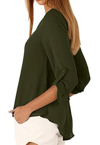 Arme POINGS Blouse Longues Lache Bouton Tops T Verte V Femmes en Col Casual Shirt Manches Haut FqFUS6gcTw