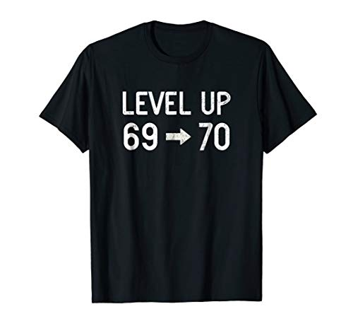 Funny Level Up 70 Birthday T-Shirt 70th Retro Gamer Gift