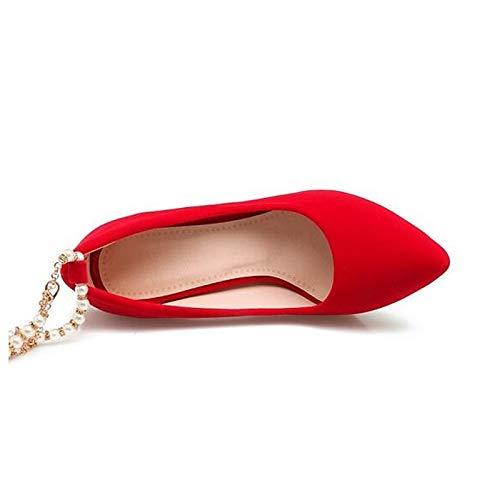 Heel Red Suede ZHZNVX de Pump Stiletto Zapatos Fall Black Black Heels Mujer Basic ffzCZq