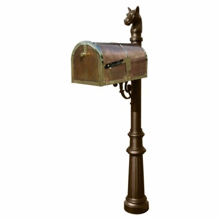 Old Fashioned Fluted (Provincial Collection Brass Mailbox in Polished Brass with decorative Lewiston post, #8 Fluted base and #1 Horsehead finial in Bronze)