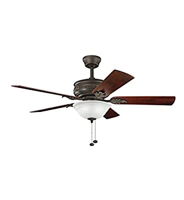 Kichler Lighting 300158SNB Athens 52-Inch Ceiling Fan, Satin Natural Bronze Finish with Reversible Walnut/Lipplewood Blades and Etched Opal Light Kit