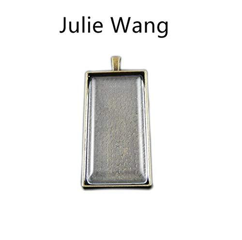 Julie Wang 10 Sets Large Rectangle Photo Setting Tray Pendant with Glass Cabochons Pendant Kit Set (Bronze)